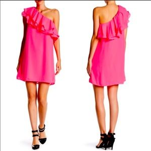 Do & Be Bright Pink One Shoulder Ruffle Dr…